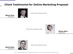 E Marketing Client Testimonial For Online Marketing Proposal Ppt Summary Display PDF