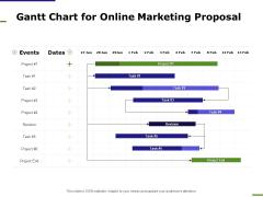 E Marketing Gantt Chart For Online Marketing Proposal Ppt Icon Deck PDF