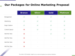 E Marketing Our Packages For Online Marketing Proposal Ppt Layouts Visual Aids PDF