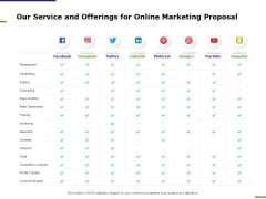 E Marketing Our Service And Offerings For Online Marketing Proposal Ppt Portfolio Example PDF