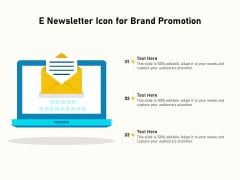 E Newsletter Icon For Brand Promotion Ppt PowerPoint Presentation Icon Styles PDF