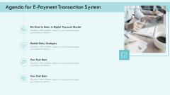 E Payment Transaction System Agenda For E Payment Transaction System Ppt Infographics Introduction PDF