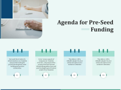 Early Stage Funding Agenda For Pre Seed Funding Ppt Portfolio Brochure PDF
