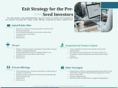 Early Stage Funding Exit Strategy For The Pre Seed Investors Ppt Infographic Template Diagrams PDF