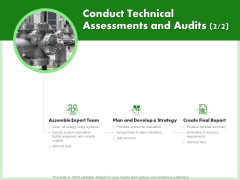 Eco Friendly And Feasibility Management Conduct Technical Assessments And Audits Strategy Sample PDF