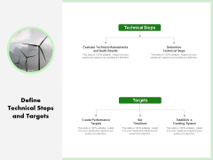 Eco Friendly And Feasibility Management Define Technical Steps And Targets Graphics PDF