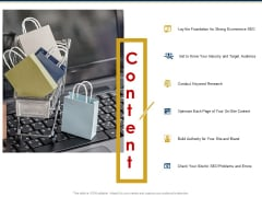 Ecommerce And SEO Plan Checklist Content Ppt Infographics Icons PDF