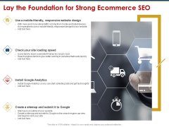 Ecommerce And SEO Plan Checklist Lay The Foundation For Strong Ecommerce SEO Background PDF