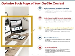 Ecommerce And SEO Plan Checklist Optimize Each Page Of Your On Site Content Template PDF