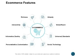 Ecommerce Features Global Reach Ppt PowerPoint Presentation Model Influencers