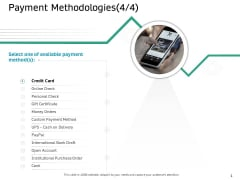Ecommerce Solution Providers Payment Methodologies Payment Ppt File Design Ideas PDF