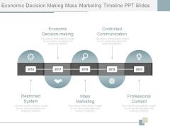 Economic Decision Making Mass Marketing Timeline Ppt Slides