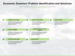 Economic Downturn Problem Identification And Solutions Ppt PowerPoint Presentation Slides Template PDF