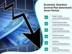 Economic Downturn Survival Plan Downward Arrow Picture Ppt PowerPoint Presentation Model Design Ideas PDF