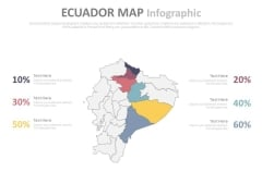 Ecuador Map With Six Different Locations And Percentage Values Powerpoint Slides