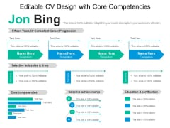 Editable CV Design With Core Competencies Ppt PowerPoint Presentation Pictures Example File PDF