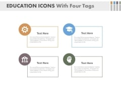 Education Icons With Four Tags Powerpoint Slides