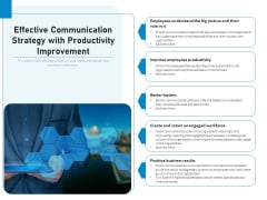 Effective Communication Strategy With Productivity Improvement Ppt PowerPoint Presentation File Designs PDF