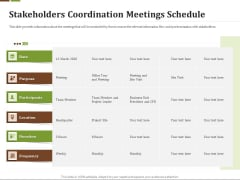 Effective Corporate Turnaround Management Stakeholders Coordination Meetings Schedule Graphics PDF