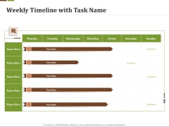 Effective Corporate Turnaround Management Weekly Timeline With Task Name Ppt Summary Example PDF