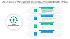 Effective Energy Management For Business With Supplier Selection Model Ppt Model Background Image PDF