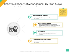 Effective Management Styles For Leaders Behavioral Theory Of Management By Elton Mayo Slides PDF