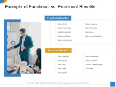 Effective Outcome Launch Roadmap Example Of Functional Vs Emotional Benefits Ppt Styles Example Topics PDF