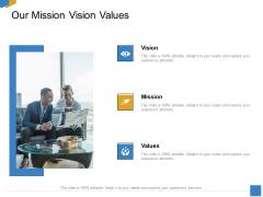 Effective Outcome Launch Roadmap Our Mission Vision Values Ppt Slides Visuals PDF