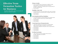 Effective Team Formation Tactics For Business Ppt PowerPoint Presentation Icon Images PDF