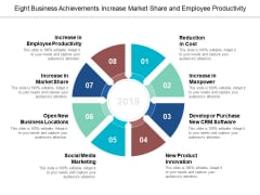 Eight Business Achievements Increase Market Share And Employee Productivity Ppt Powerpoint Presentation Summary Introduction