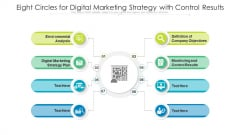 Eight Circles For Digital Marketing Strategy With Control Results Ppt PowerPoint Presentation Gallery Tips PDF