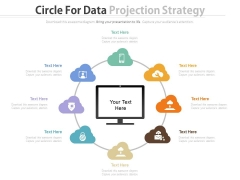 Eight Cloud Circle Around Monitor For Technology Powerpoint Slides