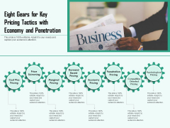 Eight Gears For Key Pricing Tactics With Economy And Penetration Ppt PowerPoint Presentation File Example Introduction PDF