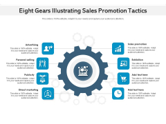 Eight Gears Illustrating Sales Promotion Tactics Ppt PowerPoint Presentation File Template PDF