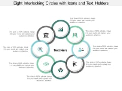 Eight Interlocking Circles With Icons And Text Holders Ppt PowerPoint Presentation Professional Brochure