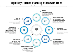 Eight Key Finance Planning Steps With Icons Ppt PowerPoint Presentation File Graphics Template PDF