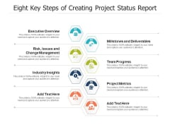 Eight Key Steps Of Creating Project Status Report Ppt PowerPoint Presentation Show Templates PDF
