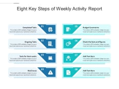 Eight Key Steps Of Weekly Activity Report Ppt PowerPoint Presentation Outline Infographics PDF