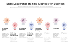 Eight Leadership Training Methods For Business Ppt PowerPoint Presentation Infographic Template Summary PDF