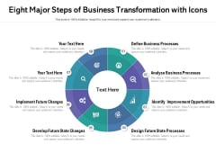 Eight Major Steps Of Business Transformation With Icons Ppt PowerPoint Presentation File Sample PDF