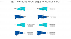 Eight Methods Arrow Steps To Motivate Staff Ppt PowerPoint Presentation File Background Designs PDF