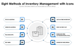 Eight Methods Of Inventory Management With Icons Ppt PowerPoint Presentation File Templates PDF