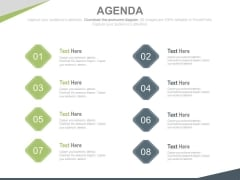 Eight Points Business Agenda Diagram Powerpoint Slides