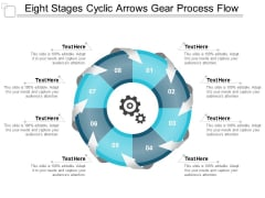 eight stages cyclic arrows gear process flow ppt powerpoint presentation show designs