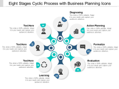 eight stages cyclic process with business planning icons ppt powerpoint presentation file professional