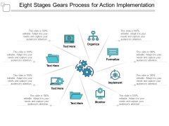 eight stages gears process for action implementation ppt powerpoint presentation ideas samples