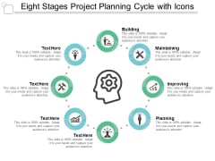 eight stages project planning cycle with icons ppt powerpoint presentation show graphics example