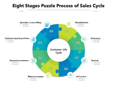 Eight Stages Puzzle Process Of Sales Cycle Ppt PowerPoint Presentation Show Ideas PDF