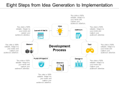 Eight Steps From Idea Generation To Implementation Ppt PowerPoint Presentation Inspiration Show