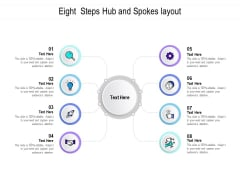 Eight Steps Hub And Spokes Layout Ppt PowerPoint Presentation Summary Slideshow